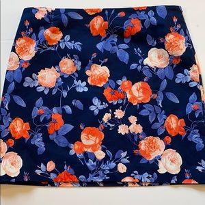 Talbots Short Floral A-Line Skirt Petite New